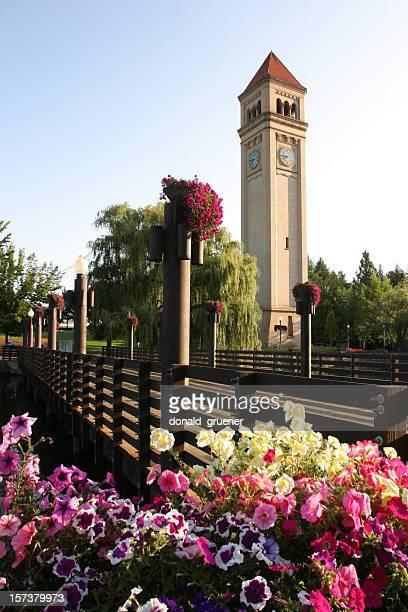 spokane, wa-riverfront park & torre do relógio - riverfront park spokane - fotografias e filmes do acervo