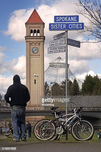 spokane, washington clock tower - riverfront park spokane stock photos and pictures