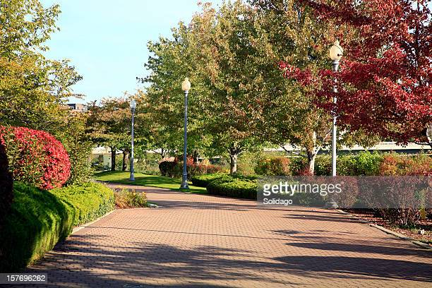 spokane washington river walkway in fall - spokane stock pictures, royalty-free photos & images