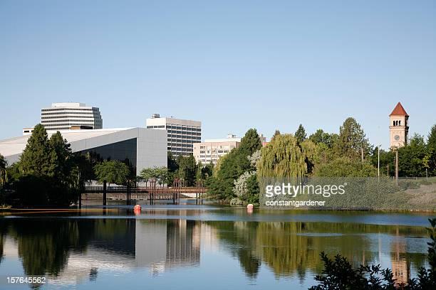 spokane washington skyline from river front park - spokane stock pictures, royalty-free photos & images