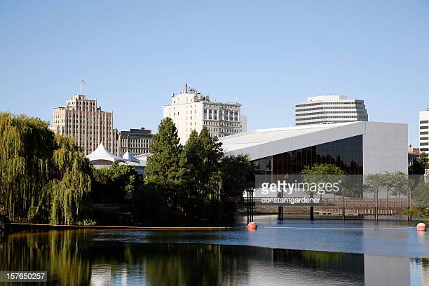 spokane washington skyline with river and performing arts center - spokane stock pictures, royalty-free photos & images
