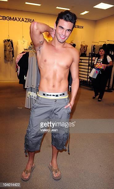 Spoke model fro Papi Underwear Leonardo Corredor attends the Macy's celebration of Fashion's Night Out at Macy's Aventura on September 10 2010 in...