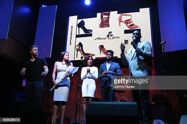 Spoken word artists Miles Hodges Alysia Harris Zora Howard Joshua Bennett and Carvens Lissaint perform at Stage 48 on July 31 2014 in New York City