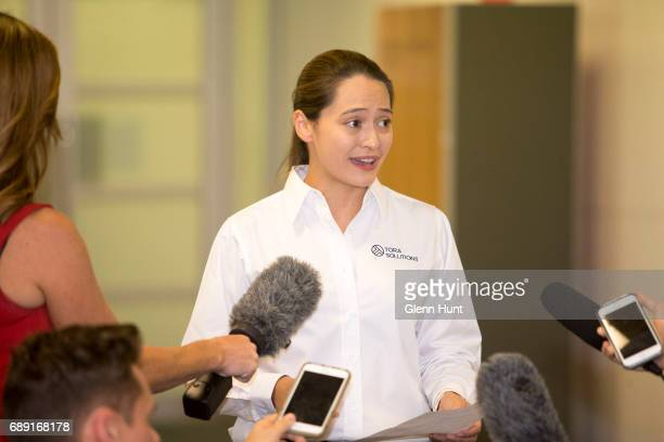 A spokes person speaks to media on behalf of the Corby family at Brisbane International Airport on May 28 2017 in Brisbane Australia Corby was...