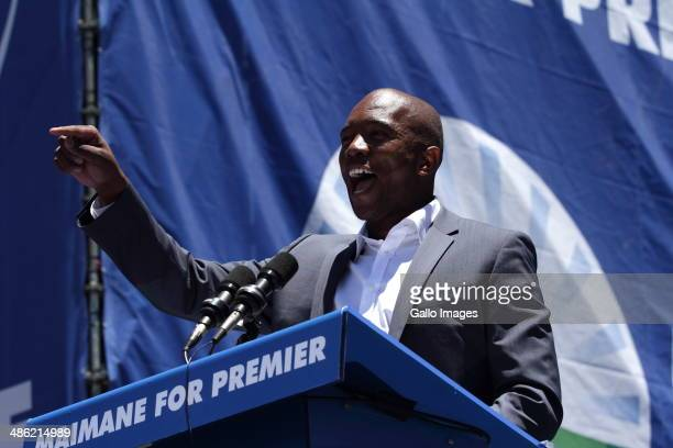 DA spokesman and Gauteng Premier candidate Mmusi Maimane delivers a speech on November 2 2013 at Walter Sisulu Square in Soweto South Africa For the...