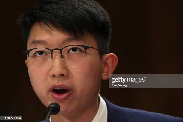 Spokesman at the Hong Kong Higher Education International Affairs Delegation Sunny Cheung testifies during a hearing before the...