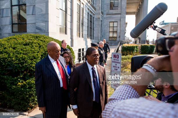 Spokesman for actor and comedian Bill Cosby Andrew Wyatt speaks to the media after a pretrial hearing for his sexual assault trial at the Montgomery...