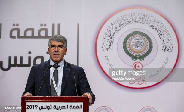 Spokesman for Arab League Summit Mahmoud Humeyri speaks during a press conference in Tunis Tunisia on March 27 2019