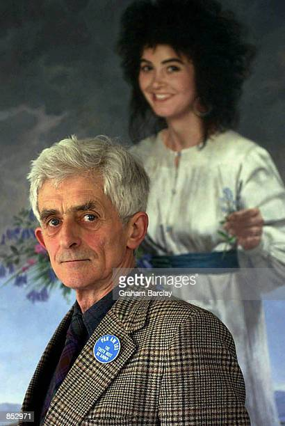 Spokesman for the bereaved families of Pan Am flight 103 bombing over Lockerbie Dr Jim Swire appears in front of a portrait of his daughter Flora a...