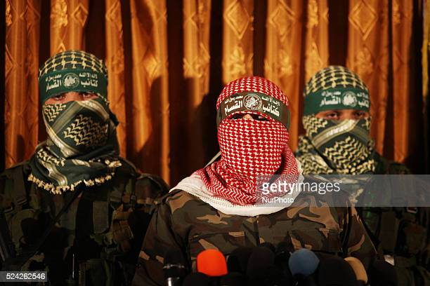 Spokesman for the Qassam Brigades the military wing of Hamas in Gaza Abu Obeida during a press conference to talk about the details of the clash with...