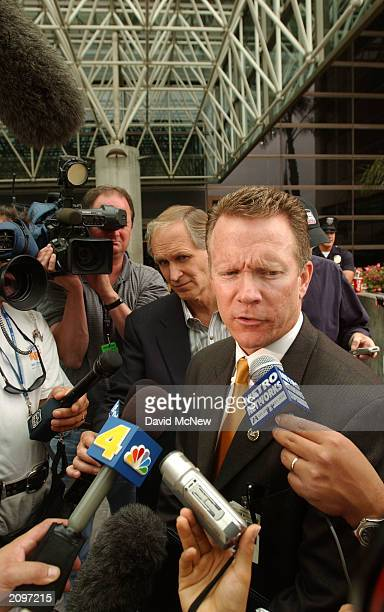 FBI spokesman Matthew McLaughlin answers questions from the news media after the arrival of Max Factor cosmetics heir Andrew Luster at the Los...