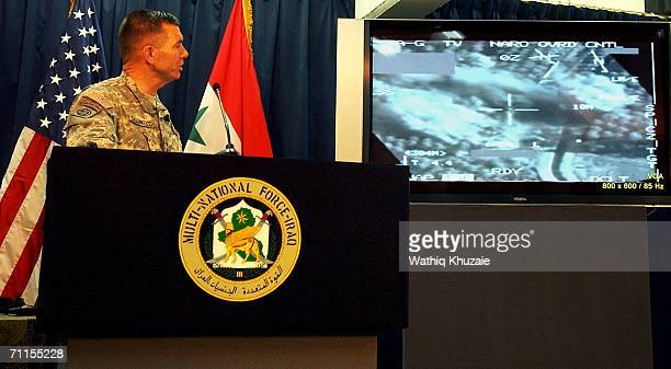 Spokesman of MultiNational ForceIraq Major General Bill Caldwell speaks during a press conference as satellite images are being shown of a US air...