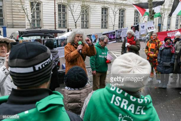 Spokesman of the association « Droit Devant » JeanClaude Amara speaks during a demonstration on March 19 in front of the court of Versailles near...