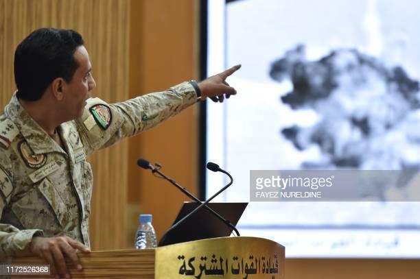 Spokesman of the Saudi-led military coalition Colonel Turki al-Maliki speaks during a press conference in the Saudi capital Riyadh, on September 30,...