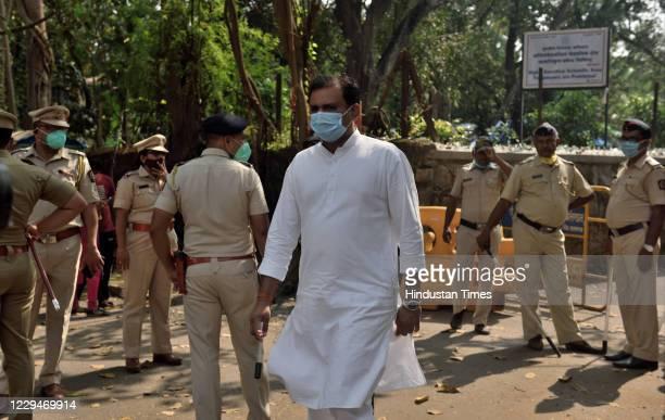 BJP spokesperson and MLA from Colaba Rahul Narvekar at Alibag Court after Arnab Goswami's arrest in Alibag on November 4 2020 in Mumbai India Arnab...