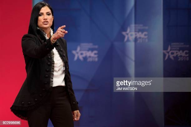 TOPSHOT Spokesperson for the National Rifle Association Dana Loesch speaks during the 2018 Conservative Political Action Conference at National...