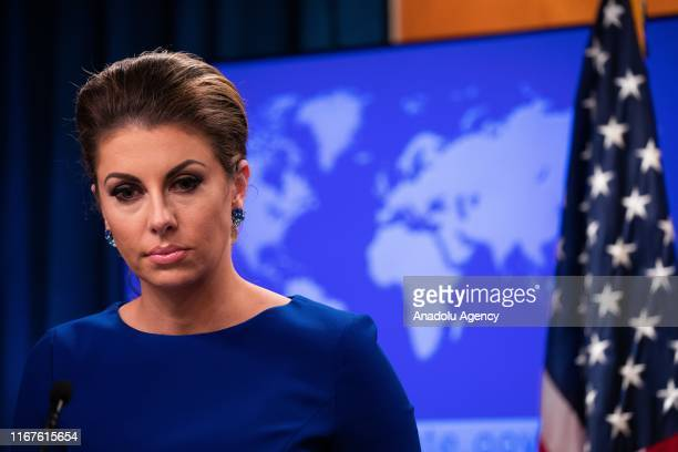 Spokesperson for the United States Department of State Morgan Ortagus answers the questions of the press during a press conference in Washington...