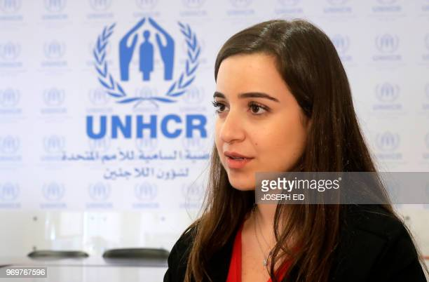 Spokesperson Lisa Abou Khaled speaks during an interview to AFP at the UNHCR headquarters in Beirut on June 8 2018 Lebanon has accused the United...
