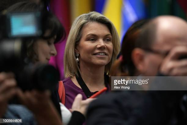 Spokesperson of US State Department Heather Nauert is seen during the firstever Ministerial to Advance Religious Freedom July 26 2018 at the US...