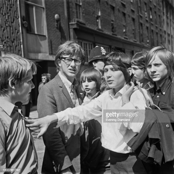 Spokesperson Stephen Finch leads the pupils of Rutherford Comprehensive School in Marylebone, London, on a strike organised by the Schools Action...