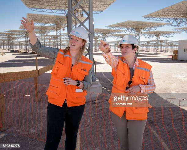 GIZ spokesperson Tanja Goenner talks to GIZ employee Marlen Goerner at the construction site of the concentrated solar power plant Planta Solar Cerro...