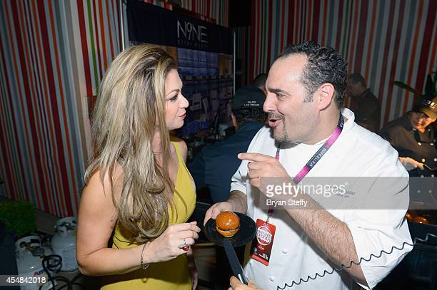 Spokeswoman Jennifer Kaiser and N9NE Steakhouse Executive Chef Barry Dakake attend the Las Vegas Food and Wine Festival at the Red Rock Casino Resort...