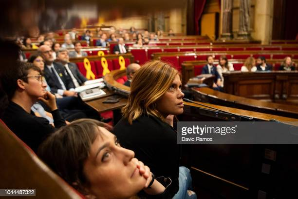 Spokeswoman of En Comu Podem Party Elisenda Alamany looks on during the first Catalonia Parliamentary Sesion on October 2 2018 in Barcelona Spain...