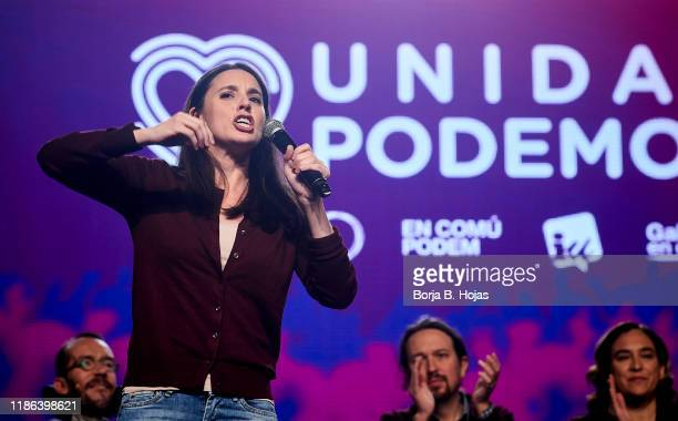 Spokeswoman of Unidas Podemos in the Parliament Irene Montero talks onstage on November 08 2019 in Madrid Spain Spain holds its fourth general...