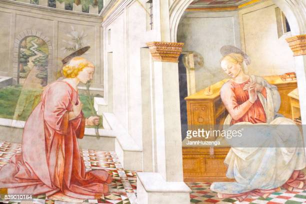 spoleto, umbria, italy: cathedral fresco by filippo lippi - annunciation stock pictures, royalty-free photos & images