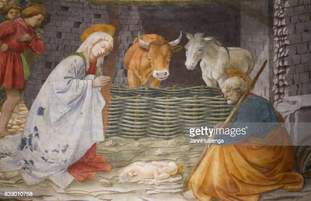 spoleto, umbria, italy: cathedral fresco by filippo lippi - jesus birth stock pictures, royalty-free photos & images