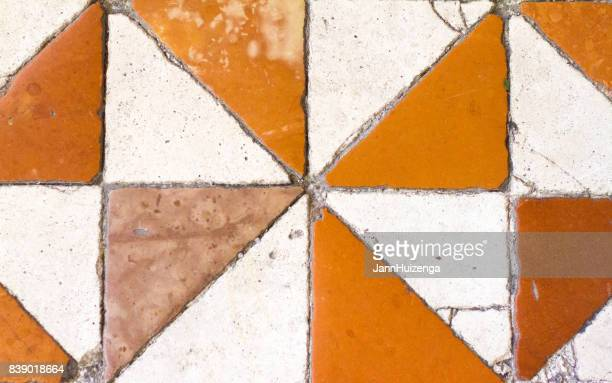 Spoleto, Umbria, Italy: Cathedral Terracotta Tile Flooring Mosaic (Close-Up)