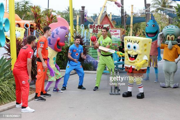 Sponge Bob bats during the Big Bash League X Nickelodeon media opportunity at Sea World to announce the renewed BBL and Nickelodeon partnership for...