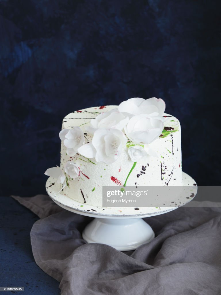 Sponge Cake Decorated With Waffle Flowers Stock Photo | Getty Images