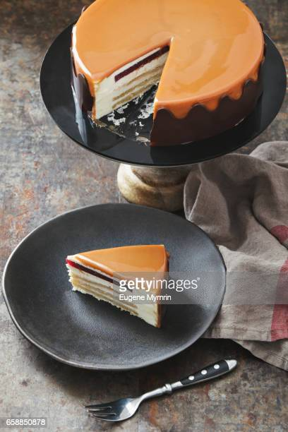 Sponge cake with whipped cream and caramel