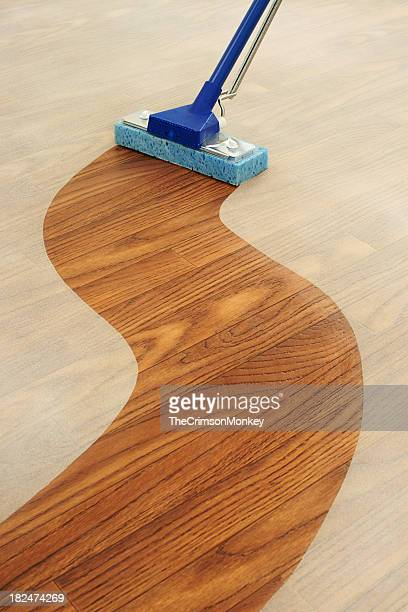 Sponge Mop Cleaning a Path Across  Dusty Floor