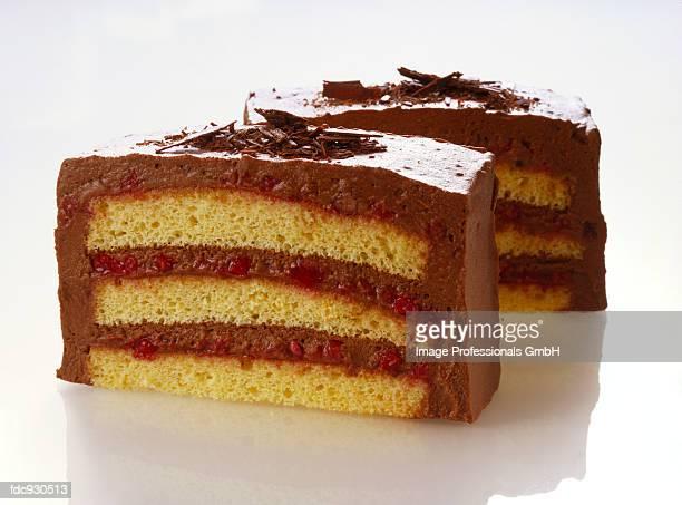 Sponge slices with chocolate cream and cranberries