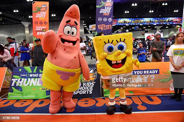 Spongebob and Patrick attend the Nickelodeon basketball tryouts for the Kids' Choice Sports 2015 'Triple Shot Challenge' At The BET Experience at The...