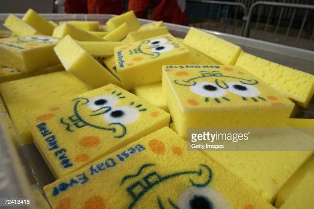 Spongebob Square Pants 'Best Day Ever' sponges are seen at the Nickelodeon SpongeBob Sponge Station during the New York City marathon on November 5...