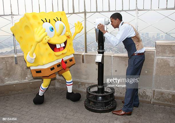 SpongeBob SquarePants and actor Nick Cannon power down the Empire State Building for Earth Day on April 22 2009 in New York City