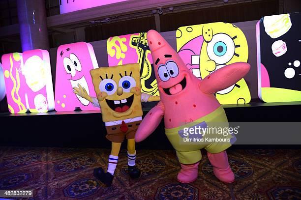 SpongeBob SquarePants and Patrick Star attend the SpongeBob SquarePants themed 41st birthday party for Pharrell Williams at Bikini Bottom at Cipriani...