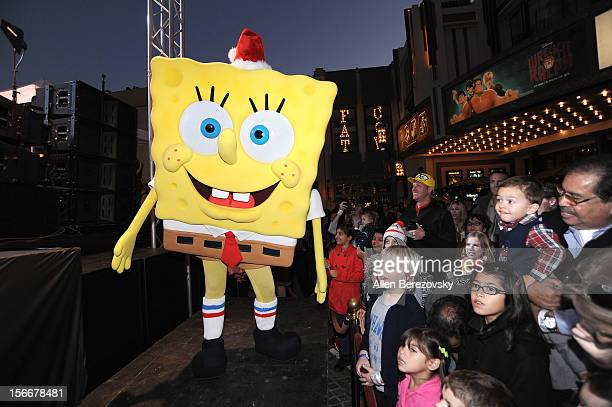 SpongeBob SquarePants attends the Spongebob Holiday Extravapants very special live concert performance hosted by Nickelodeon at The Grove on November...