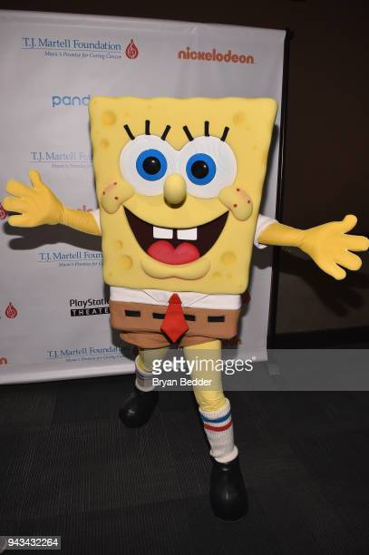 SpongeBob SquarePants attends TJ Martell Foundation's 17th Annual New York Family Day at PlayStation Theater on April 8 2018 in New York City