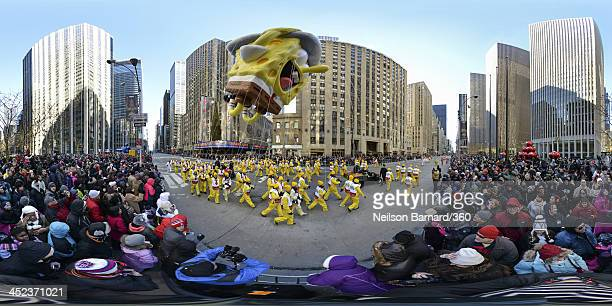 A SpongeBob Squarepants balloon makes his way down Avenue of the Americas during the 87th Macy's Thanksgiving Day Parade on November 28 2013 in New...
