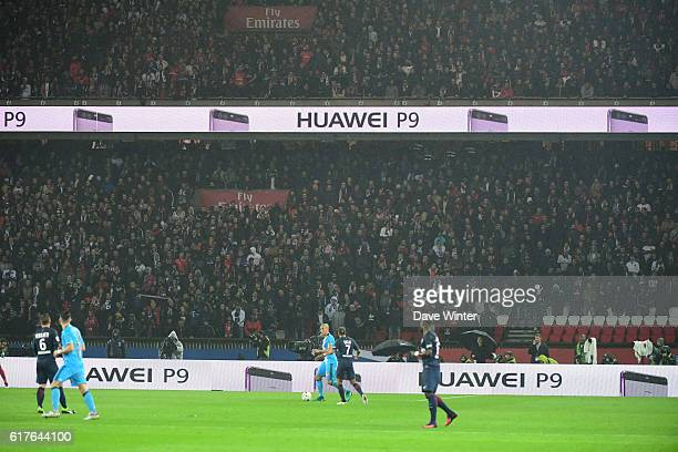Sponsor boards during the Ligue 1 match between Paris Saint Germain and Marseille at Parc des Princes on October 23 2016 in Paris France