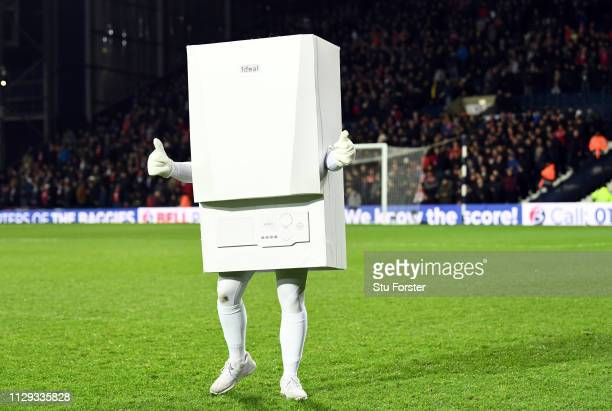 WBA sponsor Ideal Boiler mascot parades around the ground before the Sky Bet Championship EPL match between West Bromwich Albion and Nottingham...