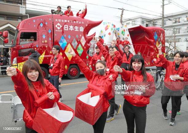 Sponsor vehicles are seen during the Tokyo Olympic and Paralympic Games Torch Relay Rehearsal on February 15, 2020 in Hamura, Tokyo, Japan.