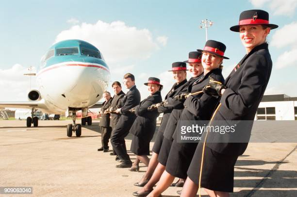 Sponsored aircraft pull at Teesside Airport British Midland staff practise 8th March 1997