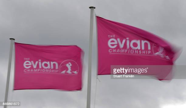 Sponsored flags fly during the delayed first round of The Evian Championship at Evian Resort Golf Club on September 14 2017 in EvianlesBains France