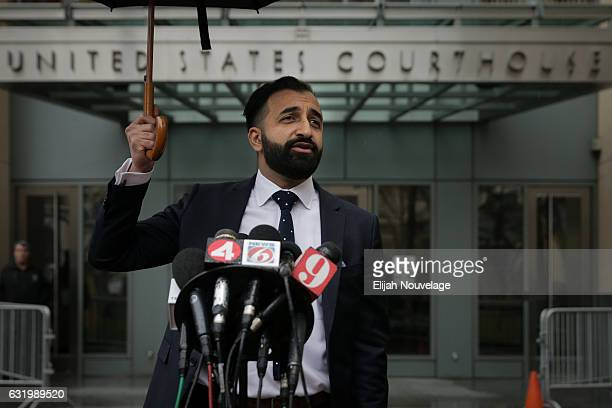 Sponsoring attorney Sam Amin speaks to the press following the arraignment of Noor Salman on January 18 2017 in Oakland California Salman pled not...