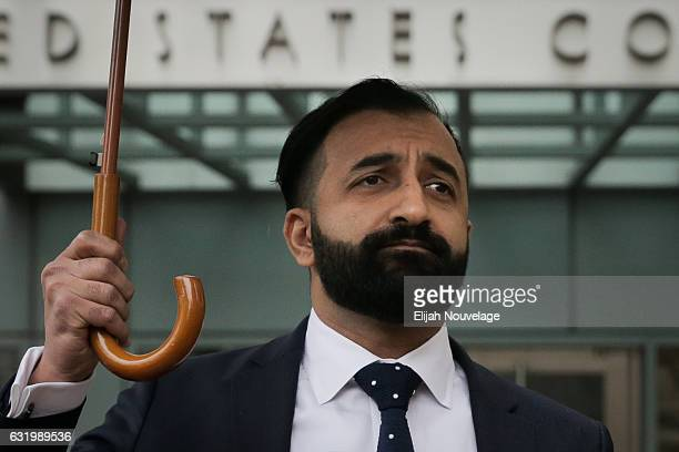 Sponsoring attorney Sam Amin takes questions from the press following the arraignment of Noor Salman on January 18 2017 in Oakland California Salman...